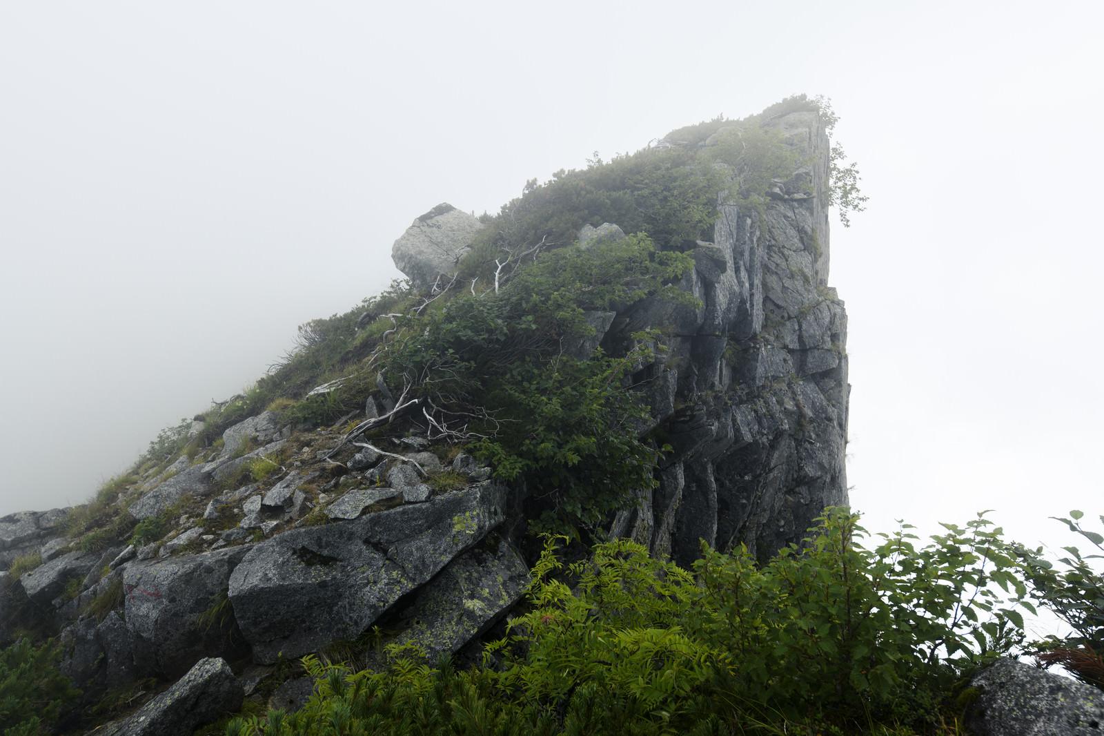 「稜線に突き出た刺のような岩(空木岳)」の写真