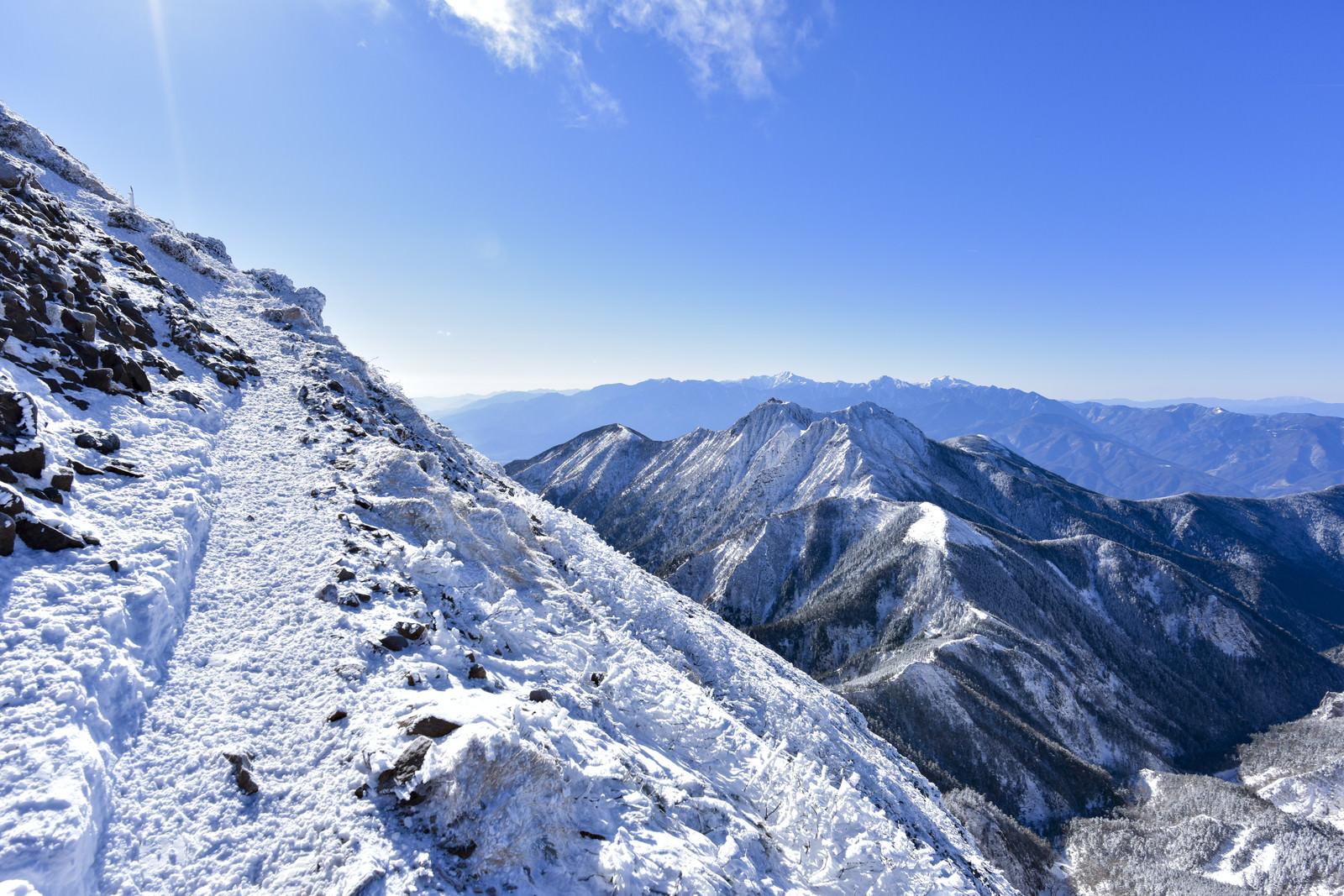 「文三郎尾根のか細い雪道と眼下の権現岳(ごんげんだけ)」の写真