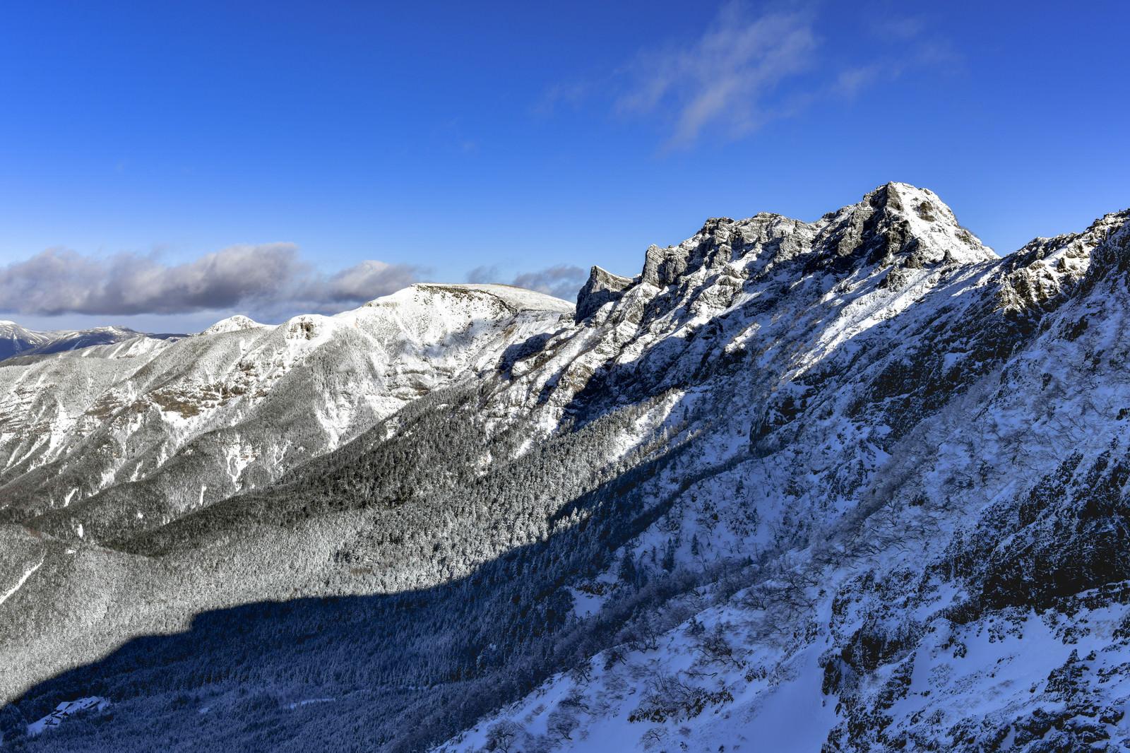 「朝日に照らされる雪の横岳(よこだけ)と硫黄岳(いおうだけ)」の写真