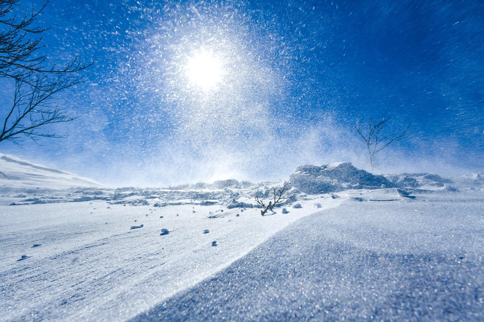 「強風で湧き上がる雪煙と太陽(谷川岳)」の写真