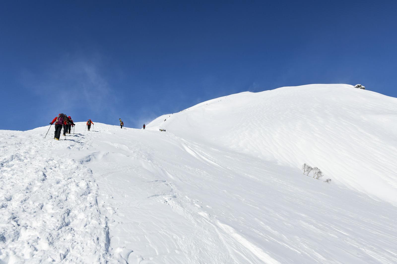 「谷川岳を登る登山者たち」の写真