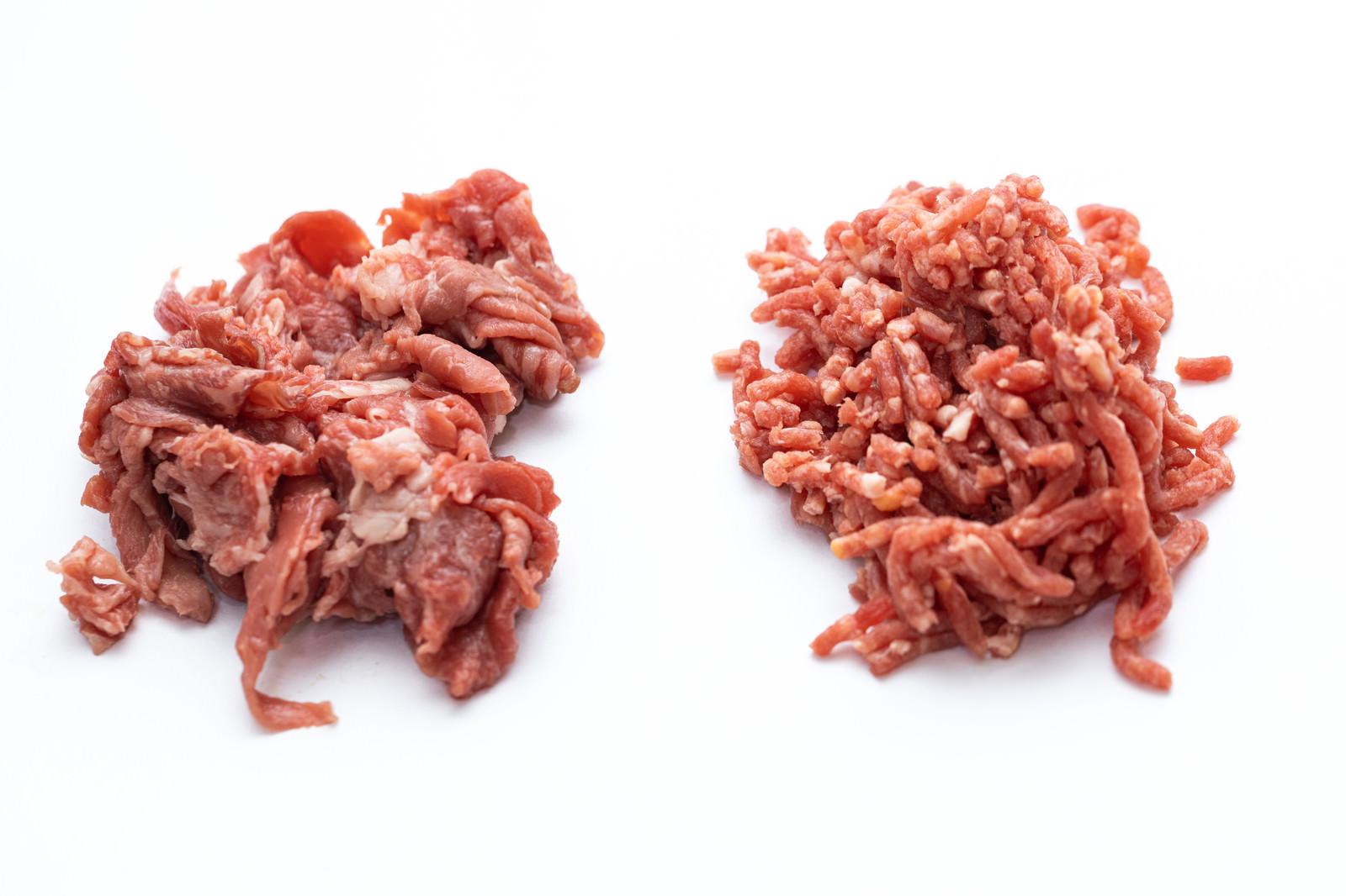 「細切れの肉とミンチの肉」の写真