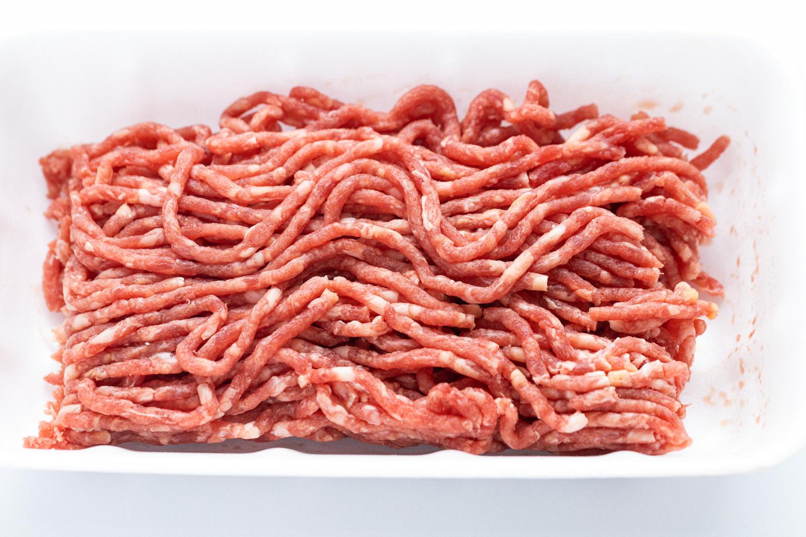 「横向きトレーの合挽肉」の写真