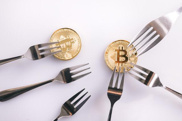 ハードフォークでビットコイン分裂(暗号資産)の写真