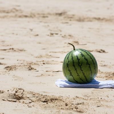 「砂浜でスイカ割り(準備中)」の写真素材