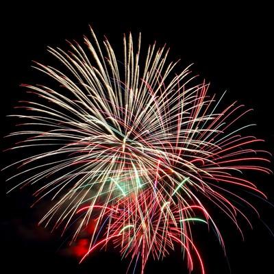 光の線が美しい花火の写真