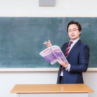 「アメリカンジョークが通じないことに困惑する教師」の写真素材