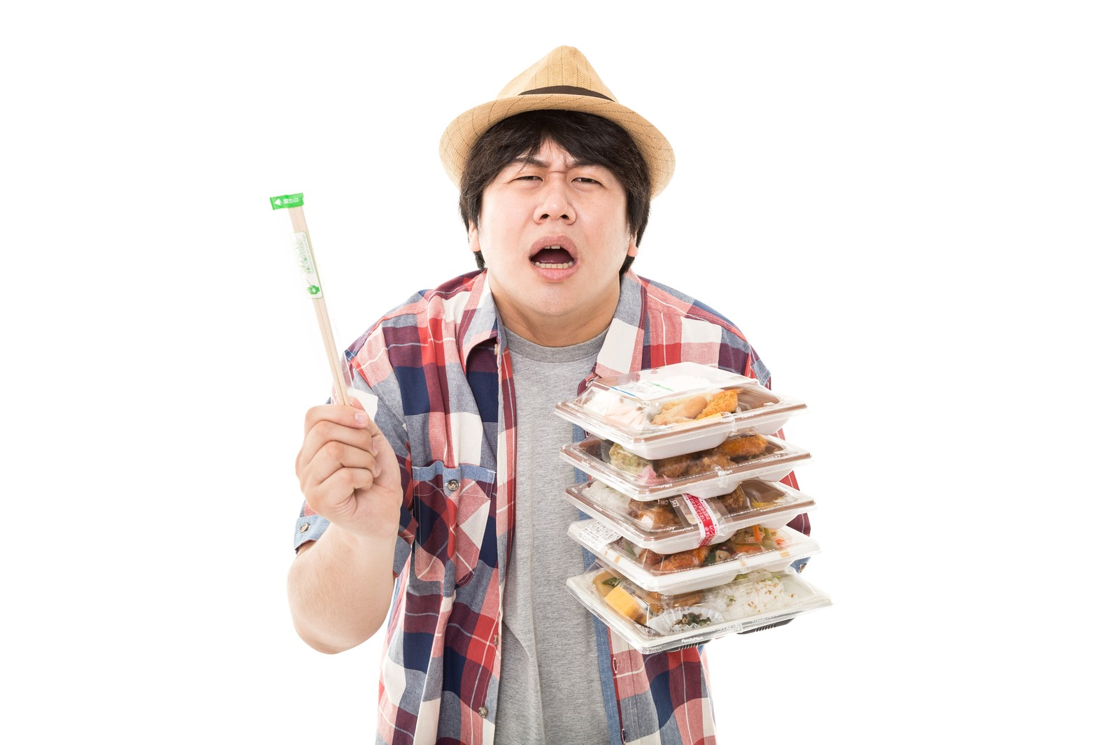 「おい、コンビニ店員よ。俺は弁当を5個買ってんだぞ?何故箸を…1膳しか入れない。だが店員よ…お前は正しい。圧倒的に正しい。」の写真[モデル:あまのじゃく]