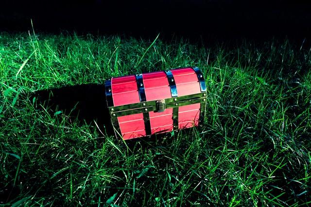 フィールド上で宝箱を見つけた ▶あける ▶たたく ▶かきっぱちの写真