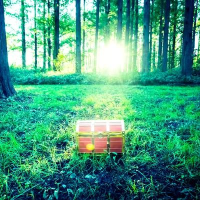 「勇者は森の中で宝箱を見つけた!」の写真素材