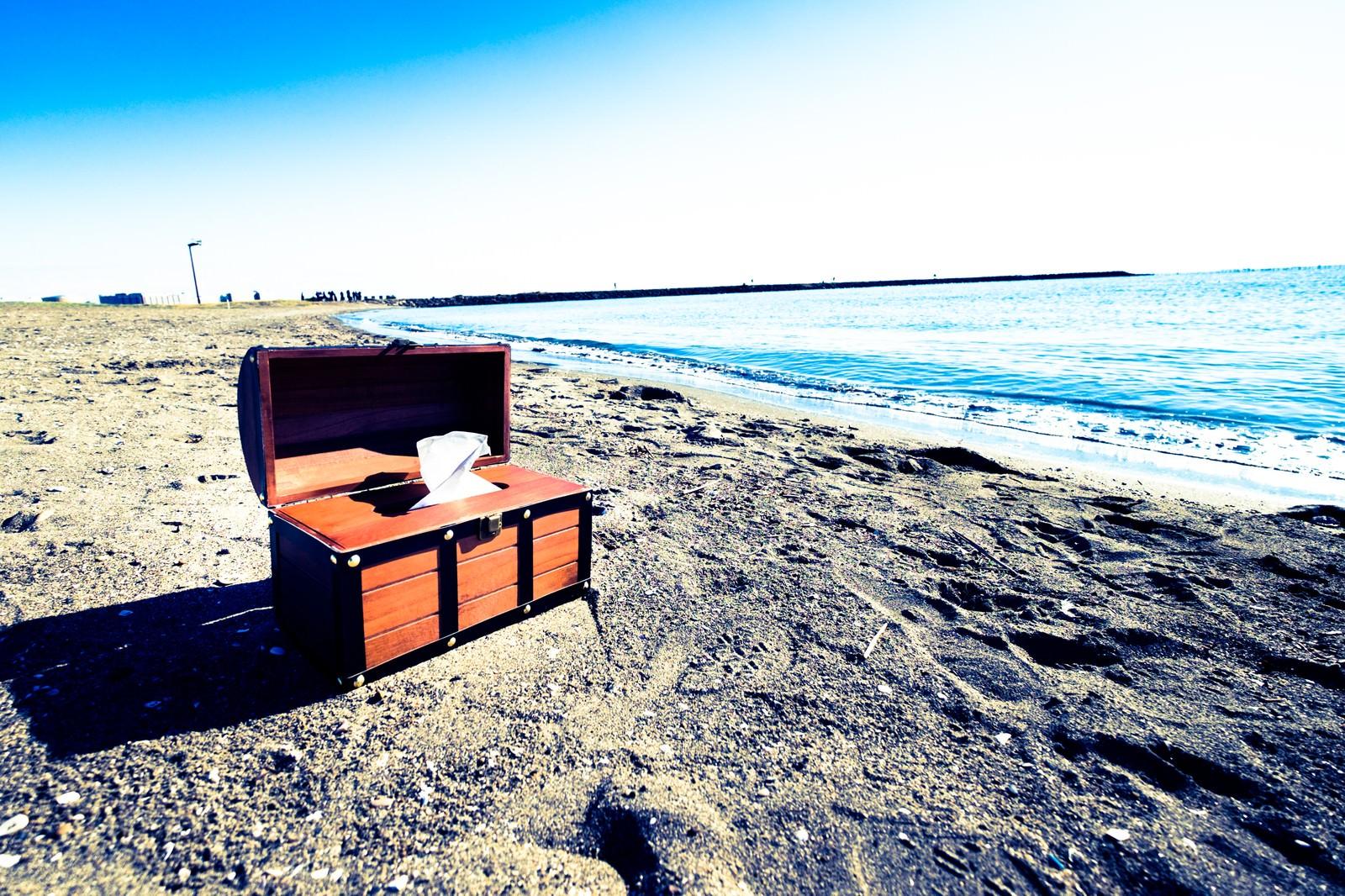 「海岸線と宝箱ティッシュケース」の写真