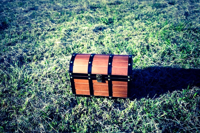 芝生の上に宝箱を見つけた!の写真
