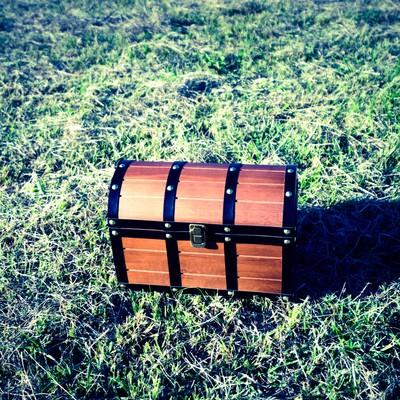 「芝生の上に宝箱を見つけた!」の写真素材