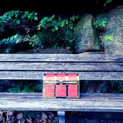 「目の前に宝箱を発見」の写真素材