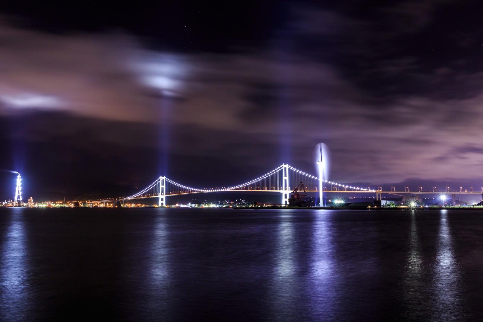 「室蘭白鳥大橋のライトアップ(夜景)」の写真
