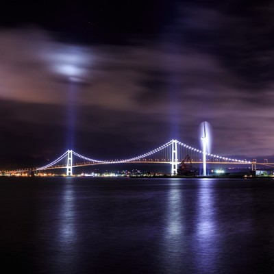 室蘭白鳥大橋のライトアップ(夜景)の写真