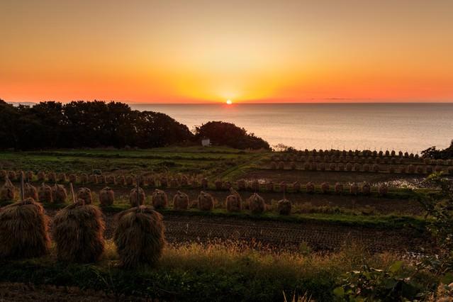 山形暮坪の棚田の夕暮れの写真