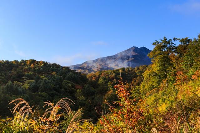 紅葉時期の鳥海山麓の写真