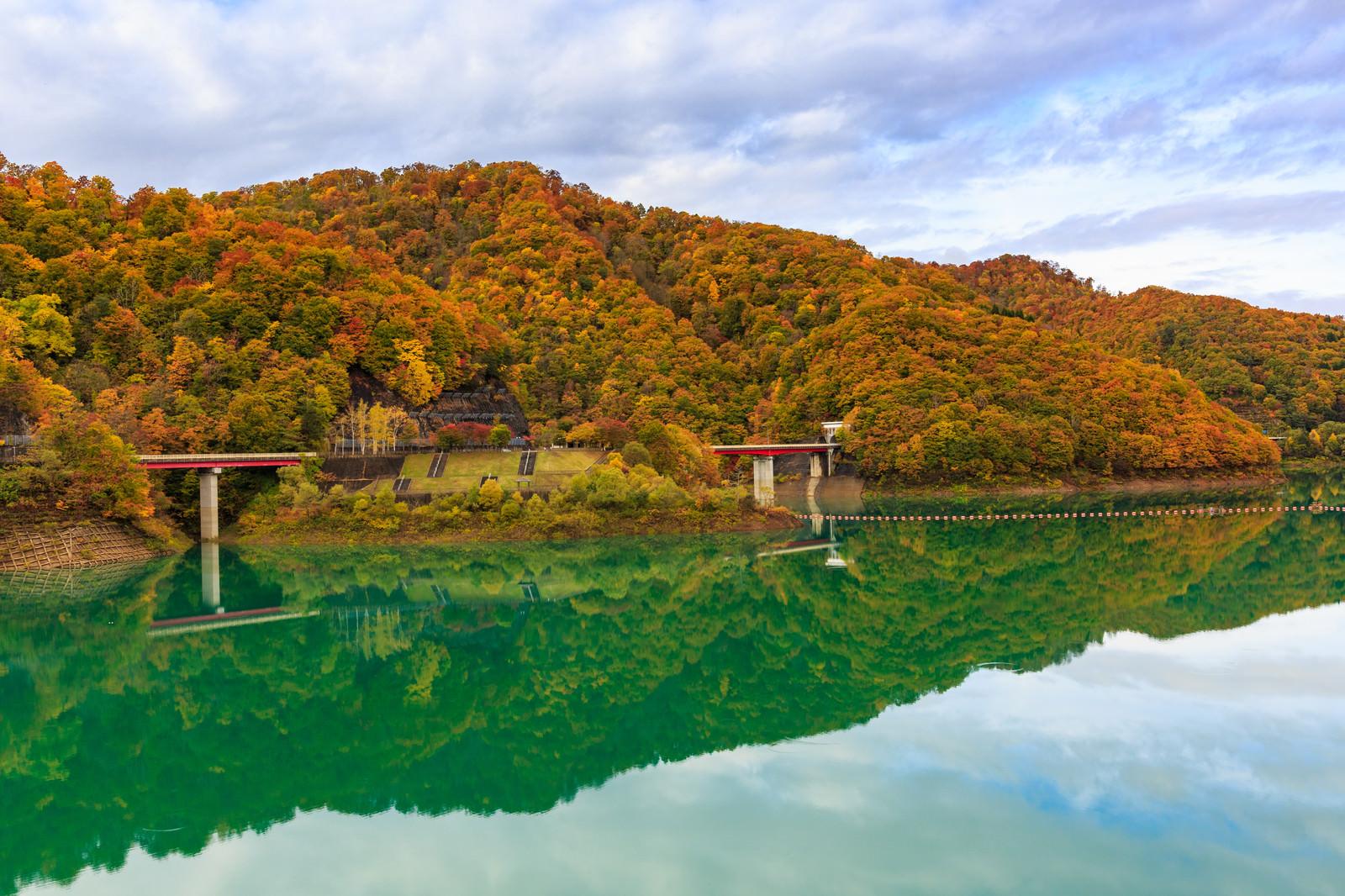 「玉川ダム湖の紅葉玉川ダム湖の紅葉」のフリー写真素材を拡大