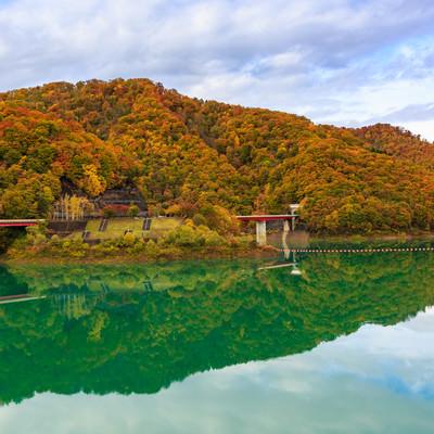 玉川ダム湖の紅葉の写真