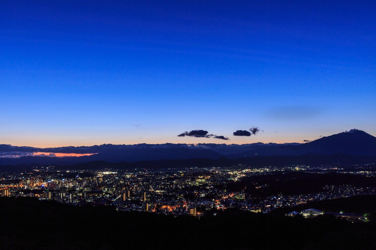 「岩山公園からの盛岡市街夜景」の写真
