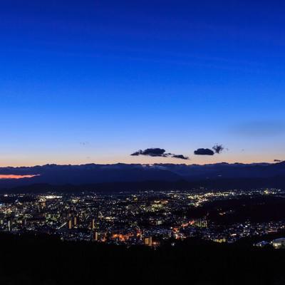 「石山公園からの盛岡市街夜景」の写真素材