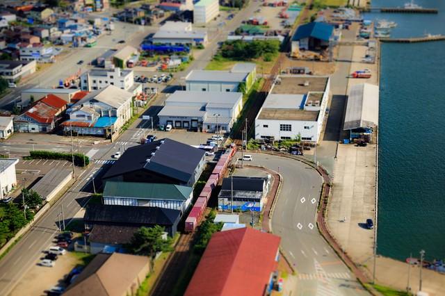 秋田港ジオラマ風の写真