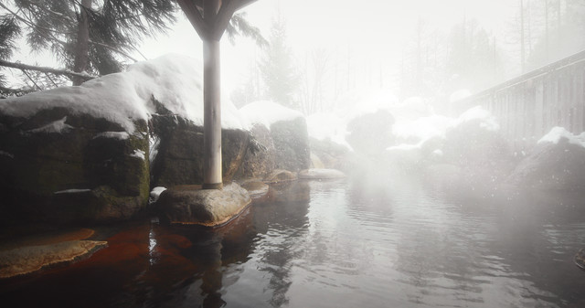 「源泉かけ流しの雪見露天風呂」のフリー写真素材
