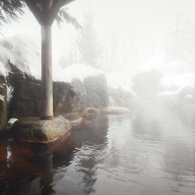 「源泉かけ流しの雪見露天風呂」の写真素材