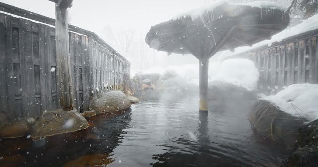 雪が舞う露天風呂(平湯プリンスホテル)の写真