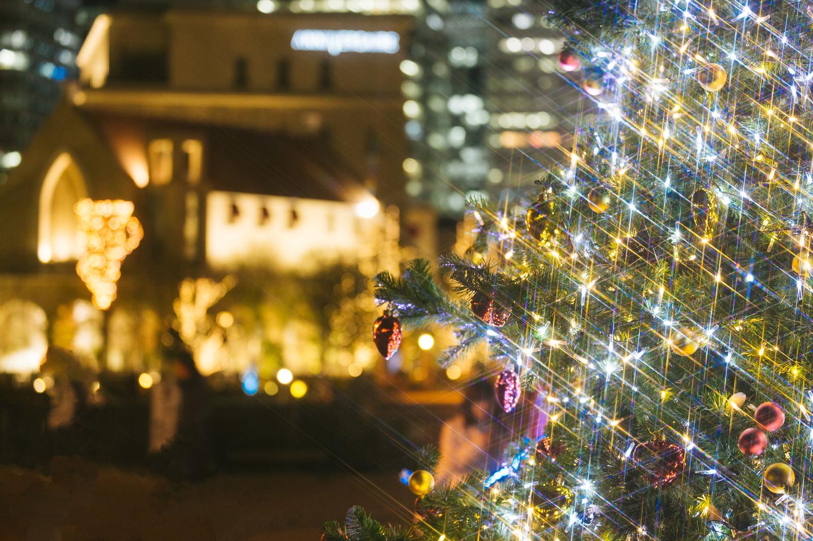 「クリスマスツリーと街並み(夜景)クリスマスツリーと街並み(夜景)」のフリー写真素材を拡大
