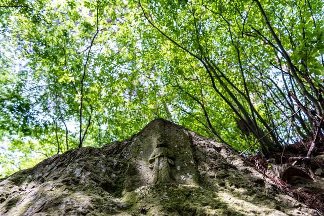 木漏れ日の中のお地蔵(武石公園)の写真