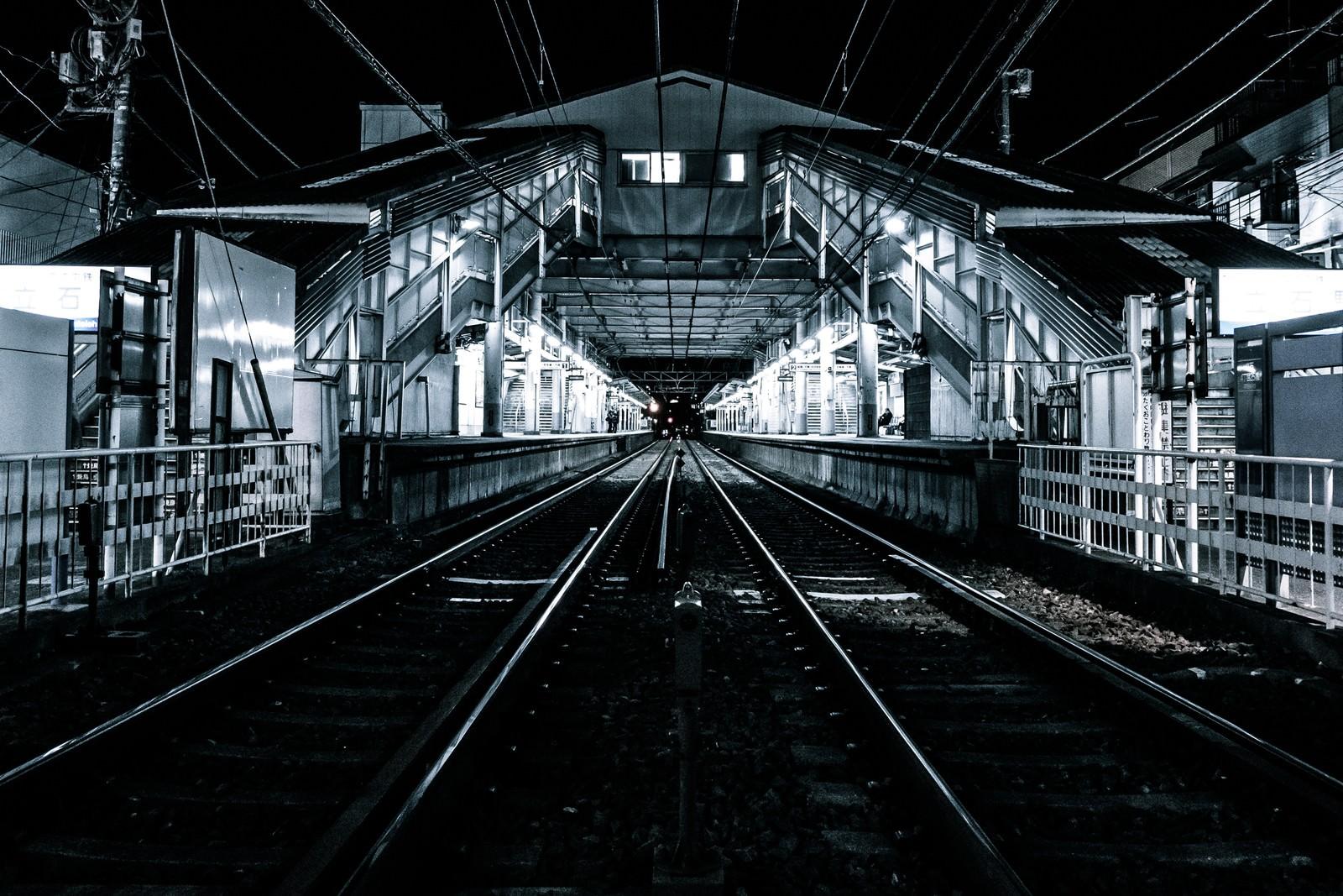 「都内の駅のホームと線路都内の駅のホームと線路」のフリー写真素材を拡大
