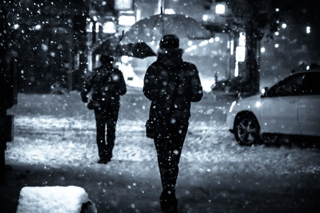 夜間、舞い散る雪と傘をさす人の写真