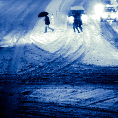 「大雪の都心」の写真素材