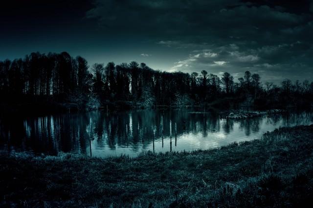 いかにも不気味な池の写真