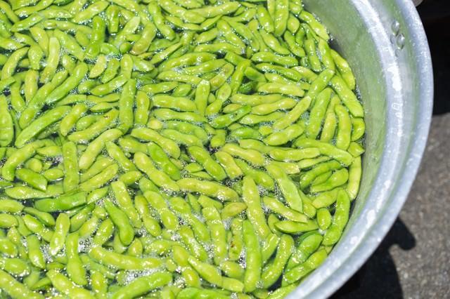 鍋で茹でた枝豆の写真