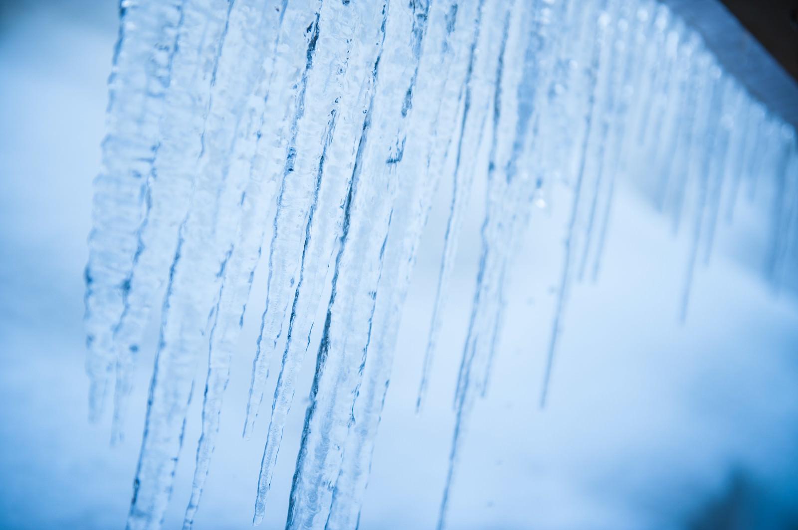 「透き通る軒下の氷柱」の写真