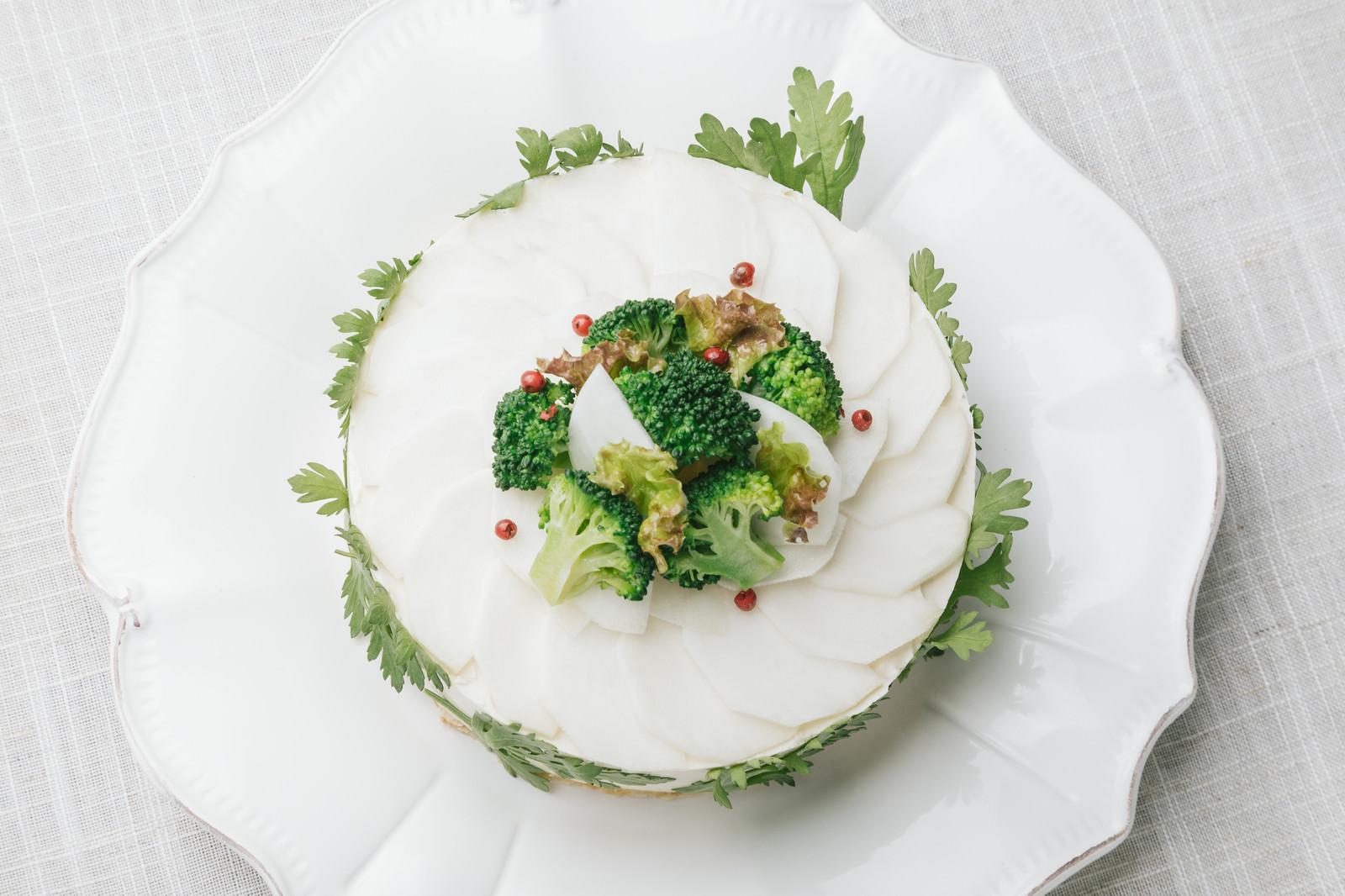 「ヘルシーなお祝いごとにもピッタリ!「ベジデコグリーンケーキ」」の写真