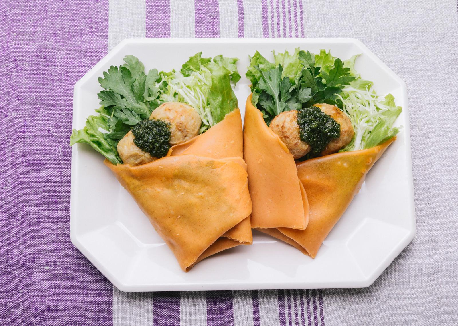 「里芋の甘みとねっとり感「ジェノベーゼのベジクレープ 」」の写真
