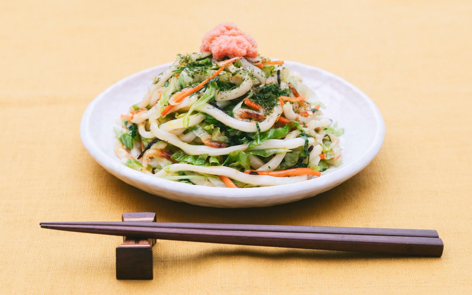 「野菜でかさ増し食べて満足!「大盛りダイエット焼きうどん 」」の写真