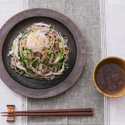 「白菜と大根がたっぷり入った「大盛りダイエットおろしそば」」の写真素材