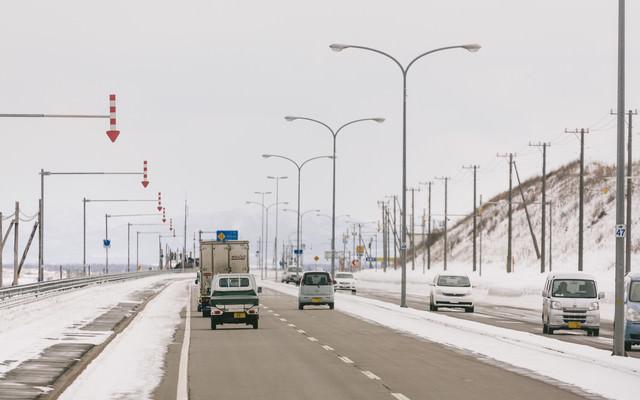 道路と路肩を区別する「視線誘導標」の写真