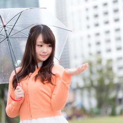 「雨を伝えるお天気お姉さん」の写真素材