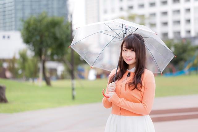 雨の中、今日の天気を伝えるお姉さんの写真