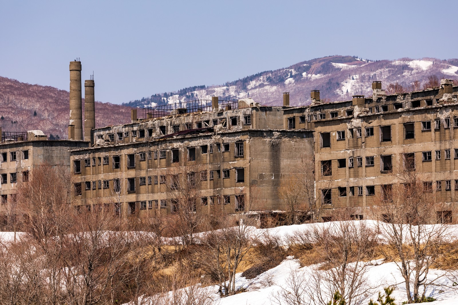 「建ち並ぶ廃宿舎群(松尾鉱山)」の写真