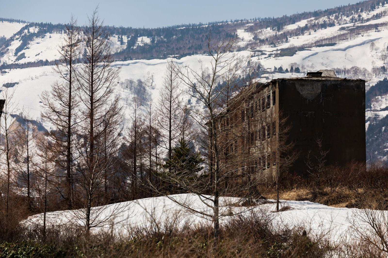 「残雪の中の松尾鉱山宿舎跡」の写真
