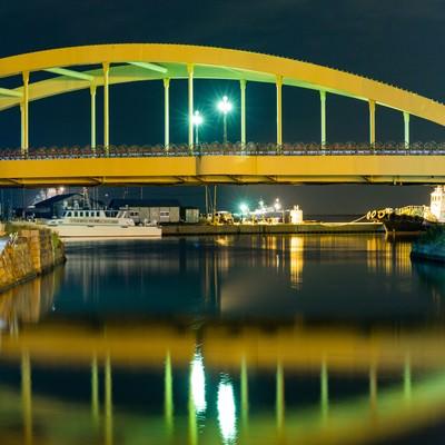 「小樽運河の夜」の写真素材