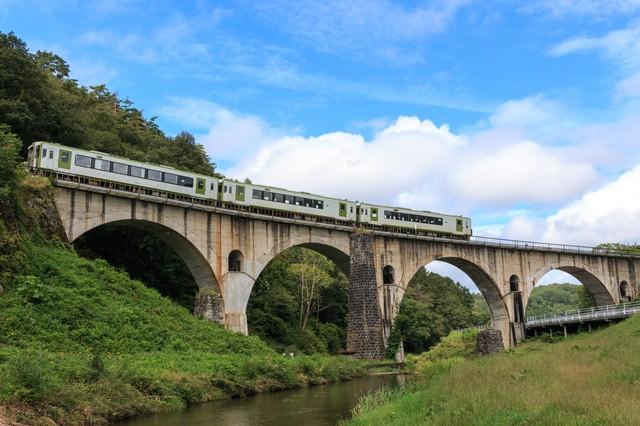釜石線が走るめがね橋(岩手県)の写真