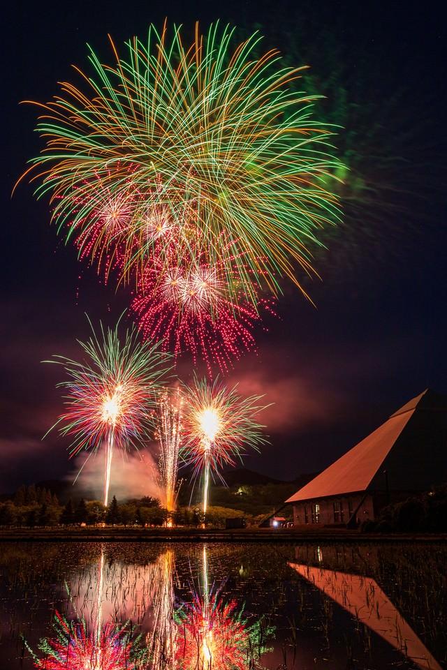 水田に反射する早苗饗(さなぶり)の花火の写真